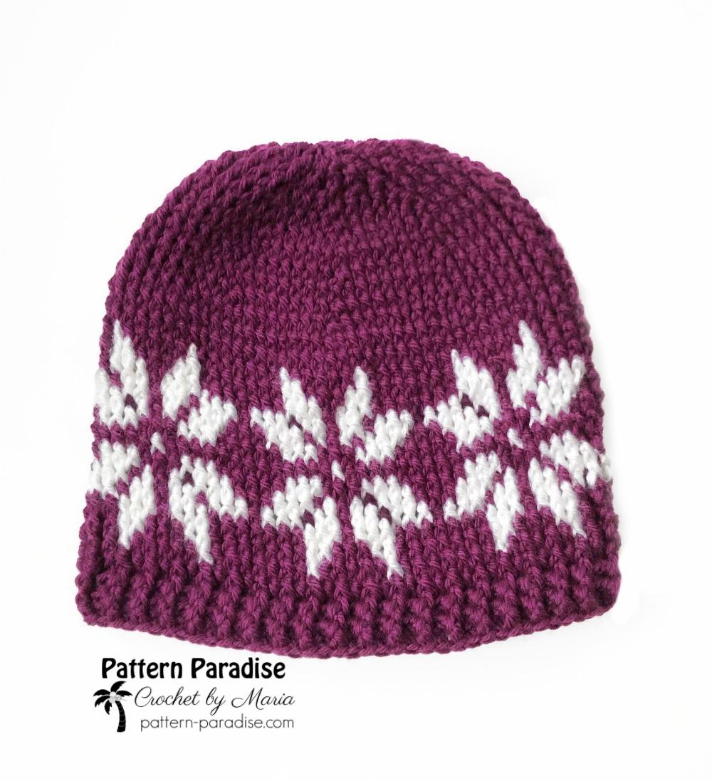 Free Crochet Pattern Snowflake Hat Pattern Paradise