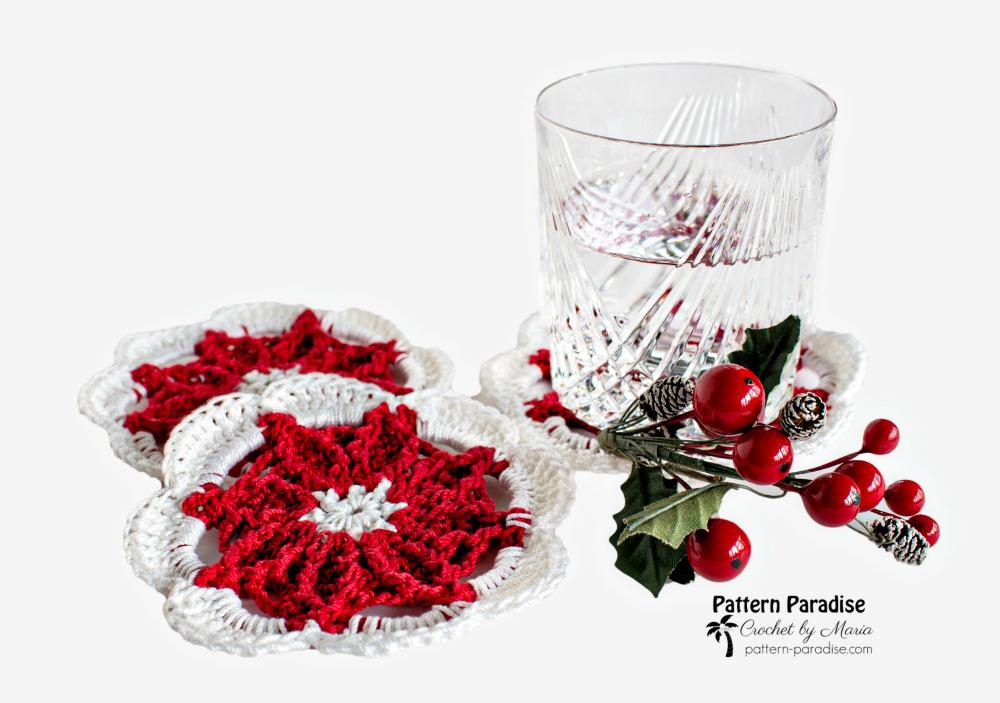 Free Crochet Pattern Poinsettia Coasters Pattern Paradise