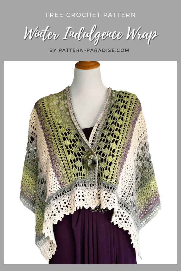 Winter Indulgence Wrap on Pattern-Paradise.com | A beautiful addition to your wardrobe anytime of year! #crochet #patternparadisecrochet #wrap