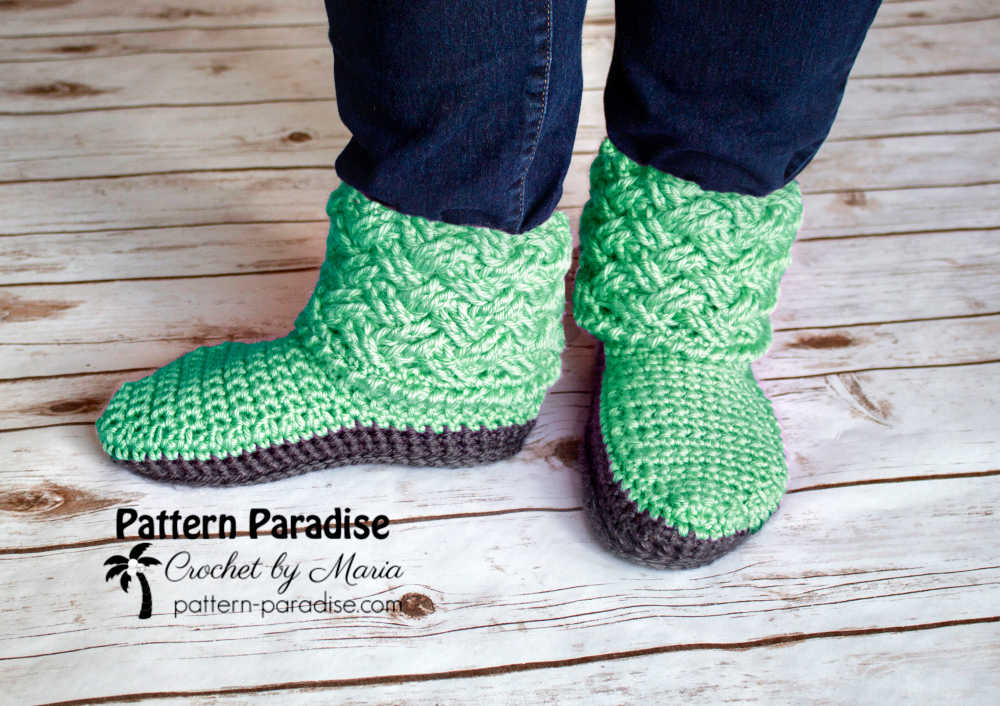 Free Crochet Pattern Celtic Weave Slippers