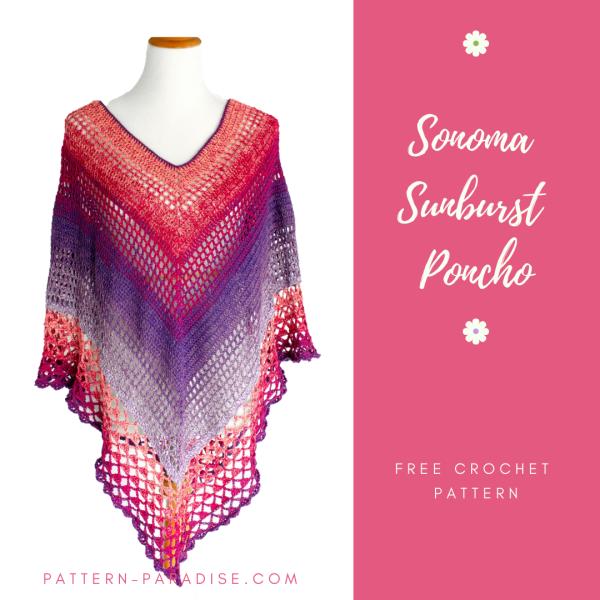 Free Crochet Pattern: Sonoma Sunburst Lacy Poncho