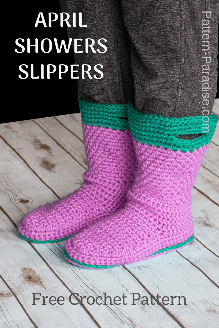 Free Crochet Pattern | Make these pretty April Showers Slippers | They are double cushioned and so comfortable. Available in Adult sizes from Small to XLarge | Pattern-Paradise.com #crochet #patternparadisecrochet #crochetslippers