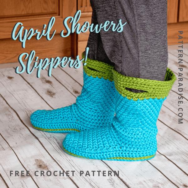 Free Crochet Pattern: April Showers Slippers