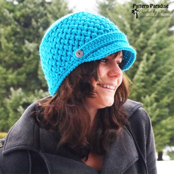 Free Crochet Pattern: Criss Cross Newsboy Hat