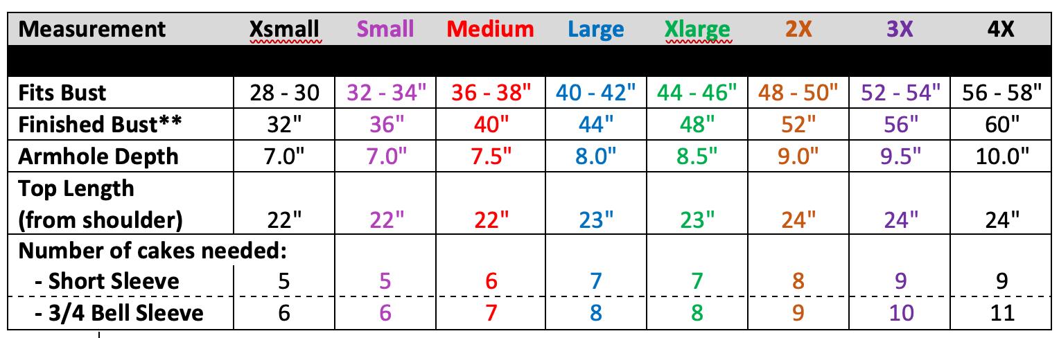 Julia Cardi Sweater size chart