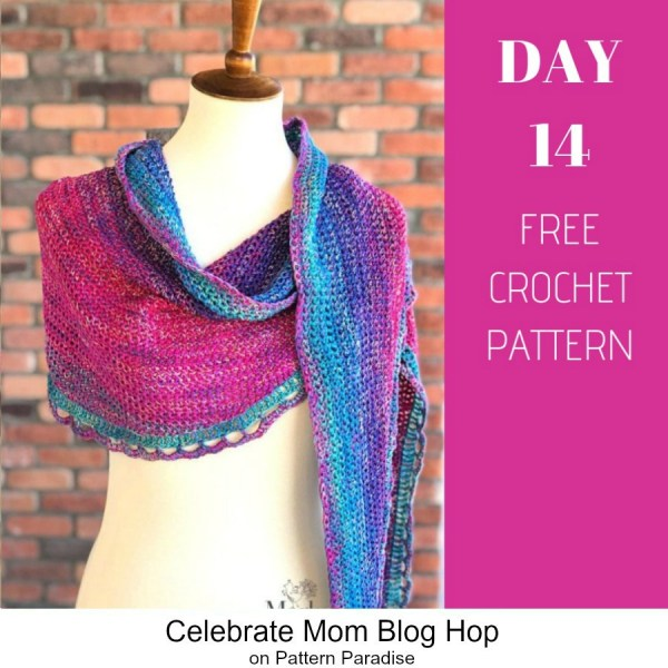 2019 Celebrate Mom Blog Hop – Day 14 Rainbow Sprinkles Crescent Shawl