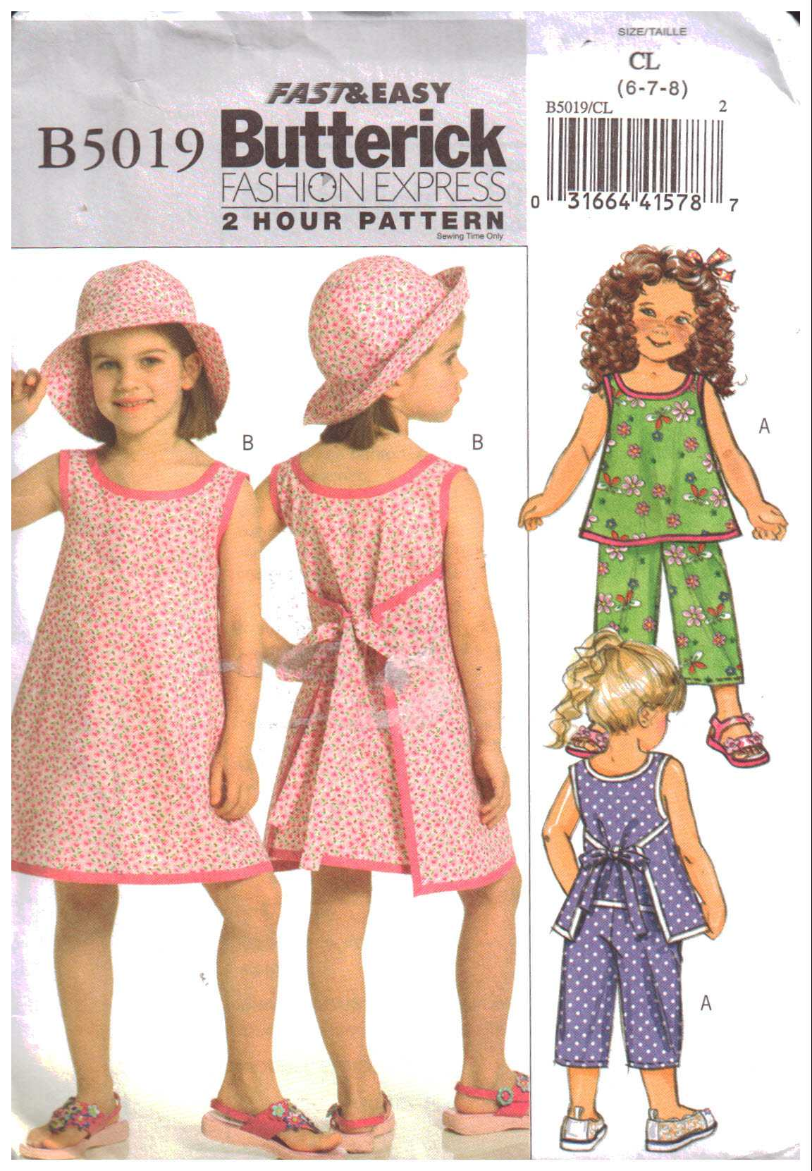 95548a10956c Butterick B5019 Girl's Tops, Dresses, Pants, Hat Size: CL 6-7-8 Used Sewing  Pattern