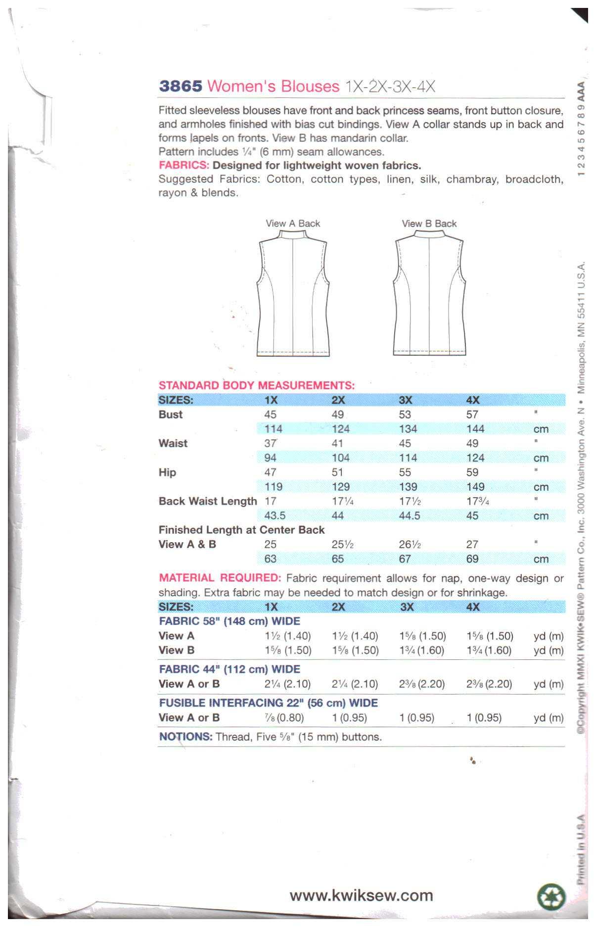 5ab98491634fc Kwik Sew 3865 Blouse Size  1X-2X-3X-4X Used Sewing Pattern