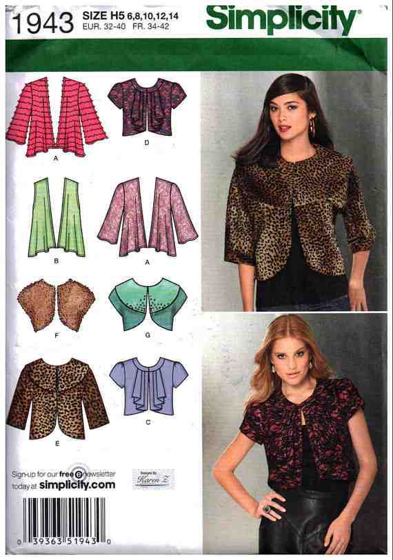 Simplicity 1943 Knit And Woven Jackets Size H5 6 8 10 12 14 Uncut