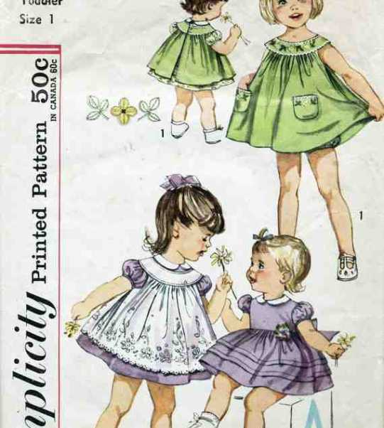 Simplicity 3807 Toddlers Dress, Pinafore and Panties Size: 1 or 3 ...