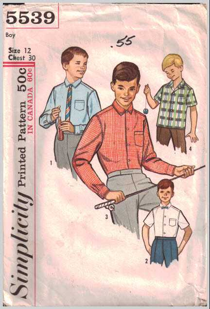 Simplicity 5539 Boy\'s Shirt Size: 12 Chest 30 Used Sewing Pattern