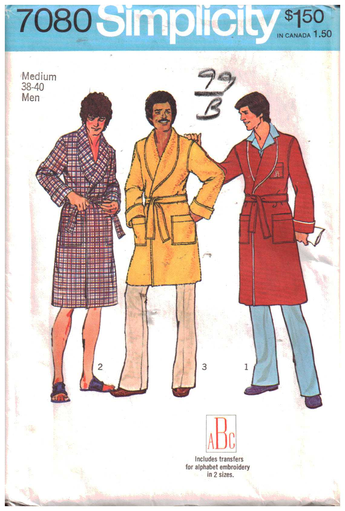 Simplicity 7080 Mens Robe in two lengths Size: 38-40 Uncut Sewing ...