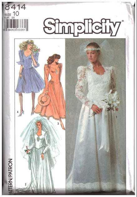Simplicity 8414 Bridal Wedding Dress, Bridesmaid Dress Size: 10 ...