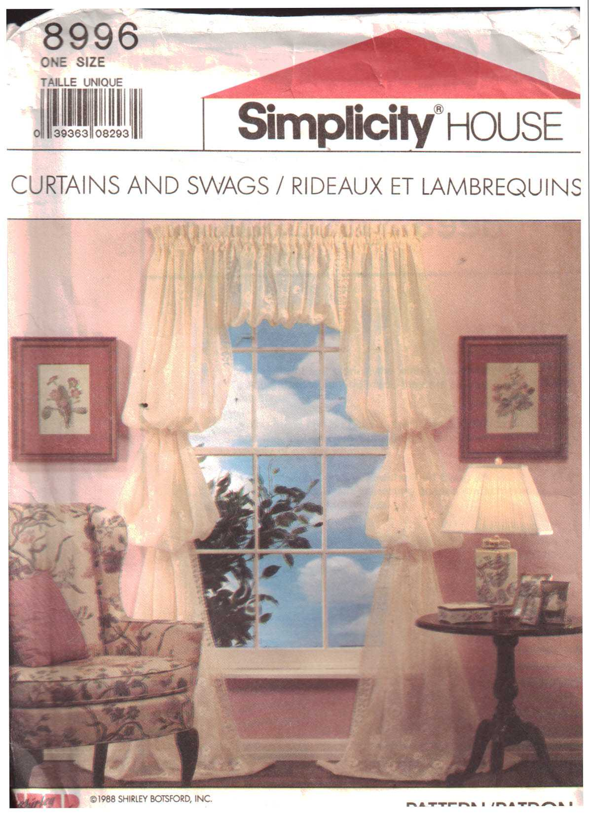 simplicity 8996 curtains and swags size one uncut sewing pattern