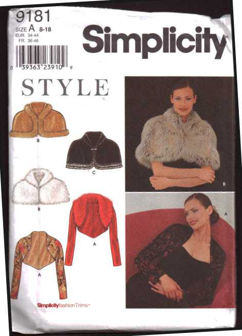 Simplicity 9181 Capelet Knit Jacket Size A 8 18 Uncut Sewing Pattern