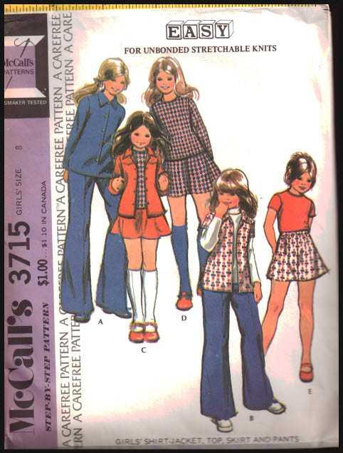 Mccalls 3715 Girls Shirt Jacket Top Skirt Pants For Unbonded