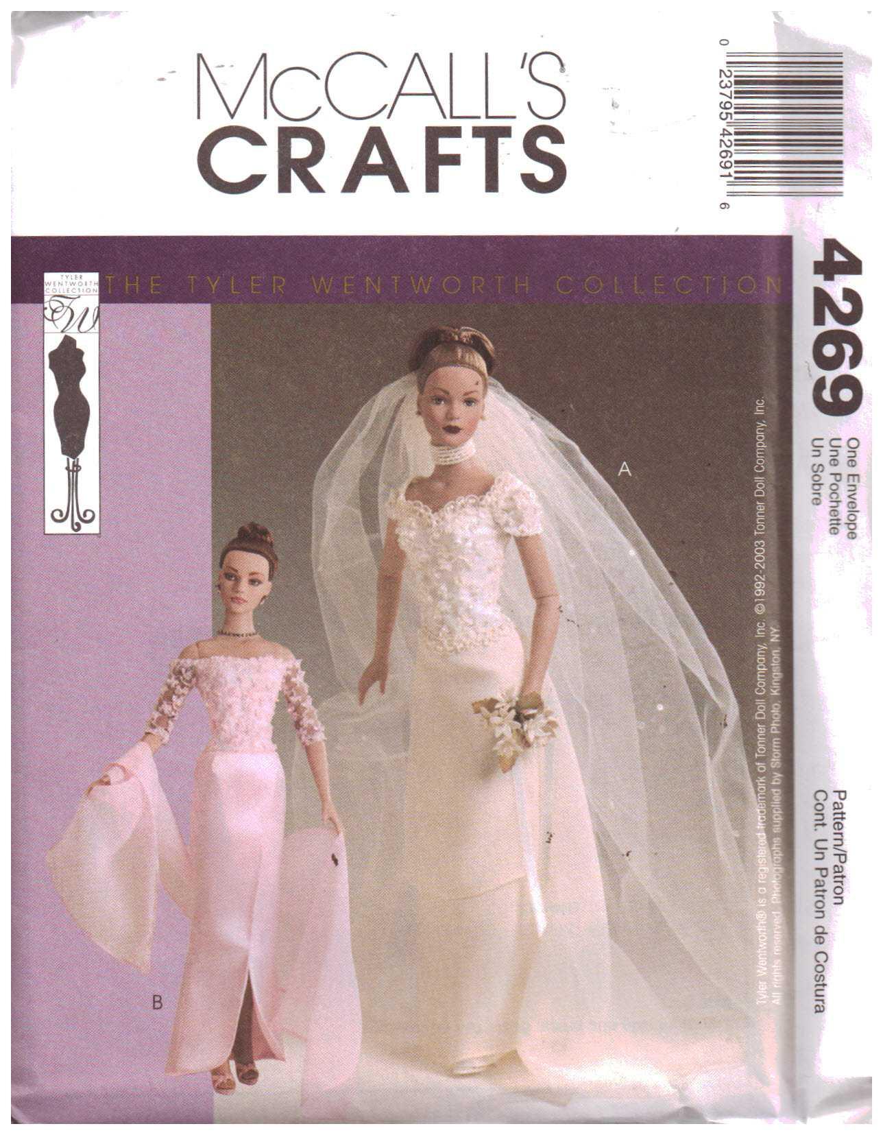 McCall\'s 4269 Doll Clothes - Wedding Dress, Bridesmaid Dress Size ...