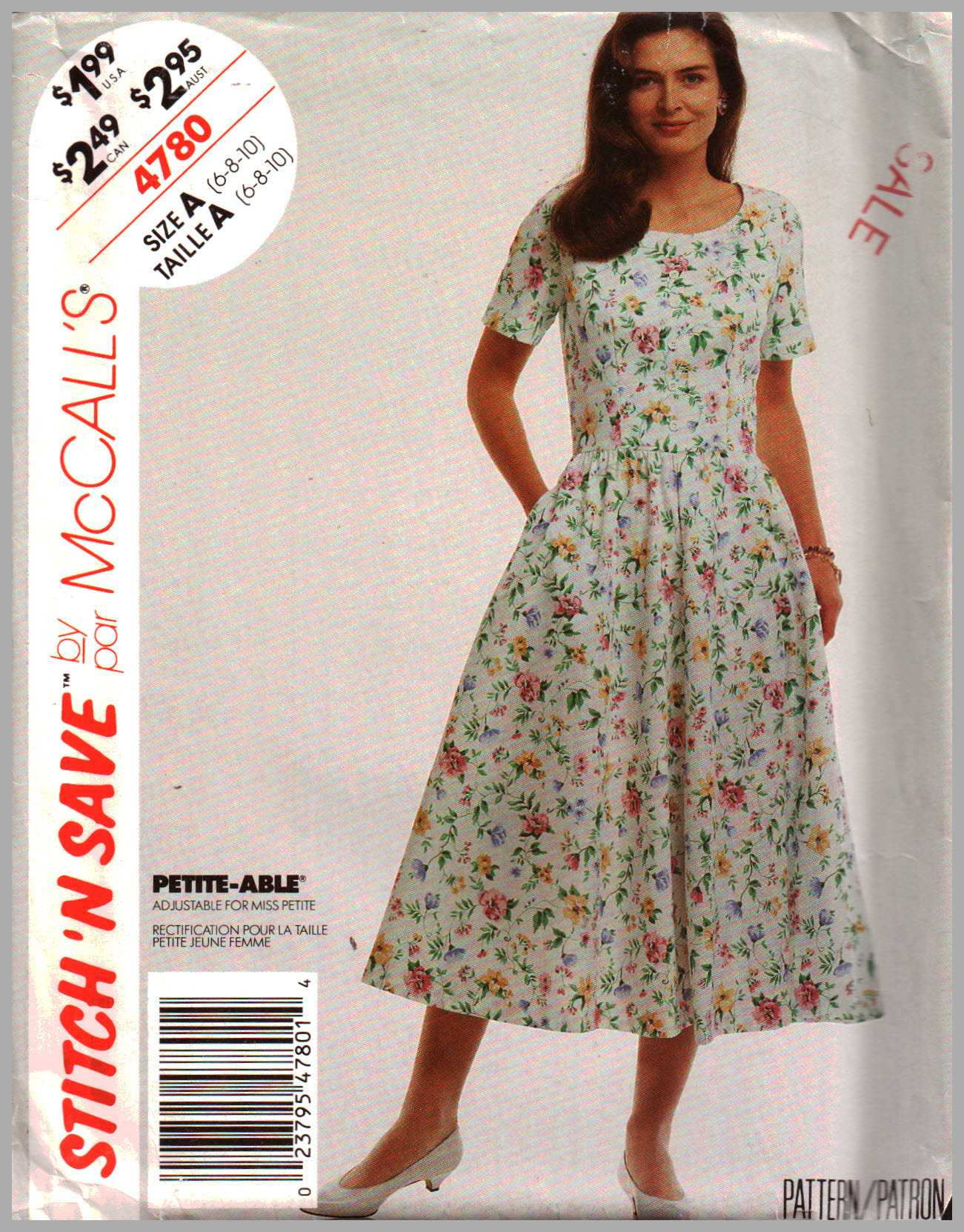 McCall\'s 4780 Dress Size: : A 6-8-10 Used Sewing Pattern