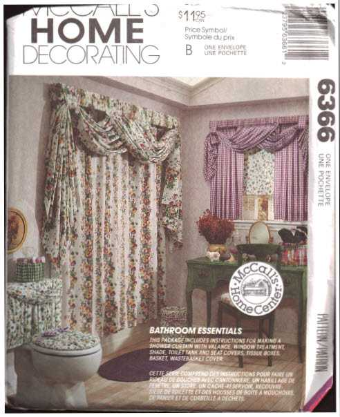 mccall s 6366 bathroom swag curtain window treatment toilet seat cover basket cover wastebasket cover tissue box cover size one used sewing