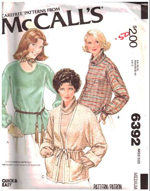 Mccalls 6392 Cardigan Top For Stretch Knit Size 14 16 Uncut
