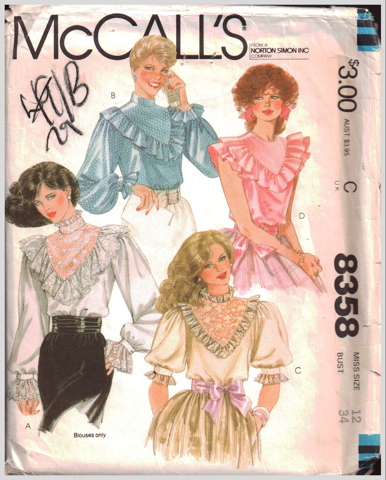 17246677d52 McCall s 8358 Blouse Size  12 Bust 34 Used Sewing Pattern