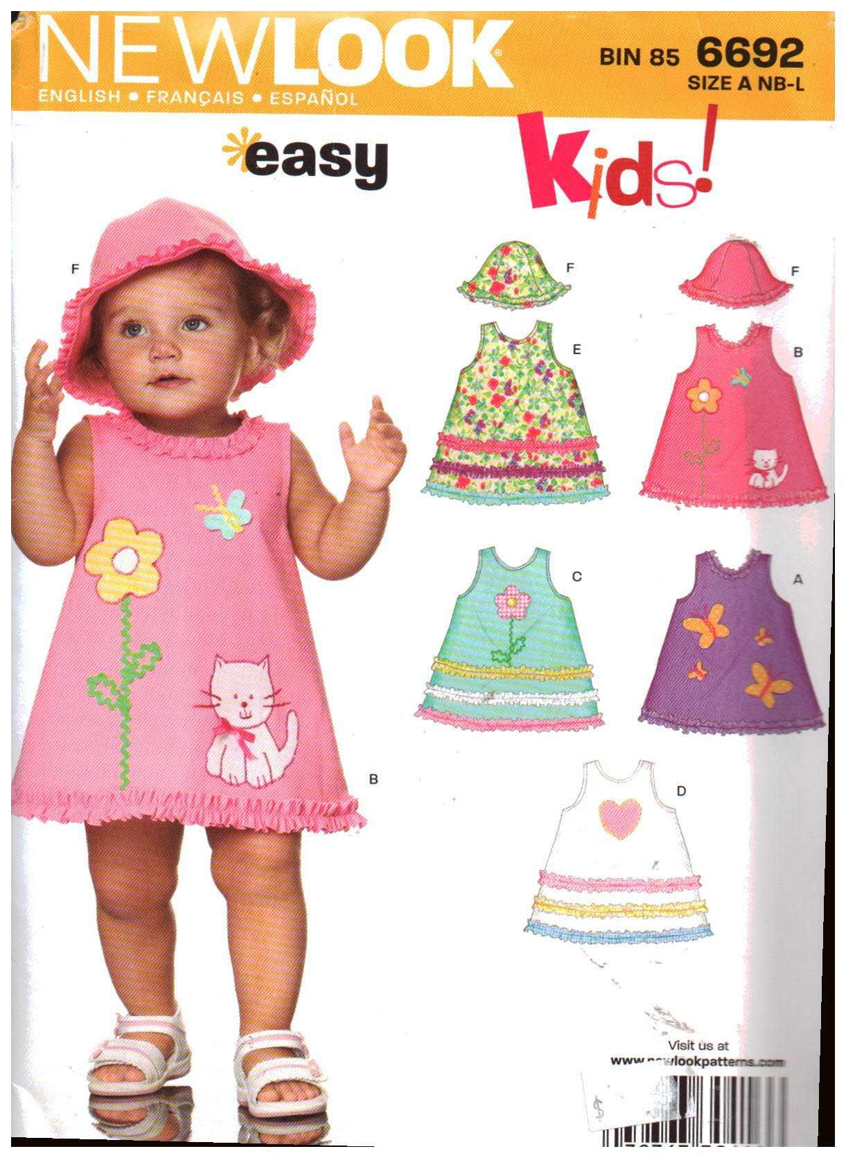 New Look 6692 Babies Dress, Hat Size: NB-S-M-L Uncut Sewing Pattern