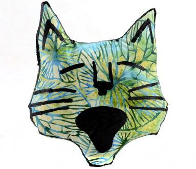 decorative pillow, cat pillow, animal pillow, cat head shaped pillow plush ktty softie blue green batik pattern fabric
