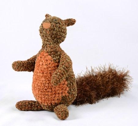front squirrel brown orange crochet
