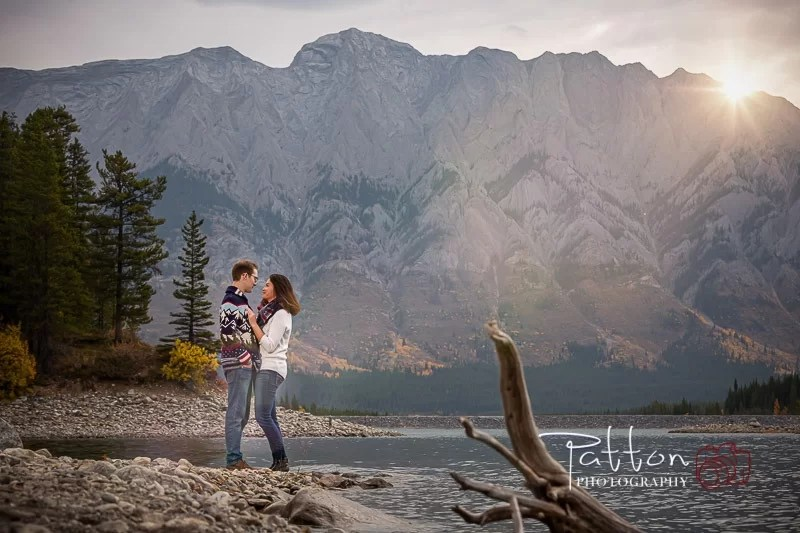 Kananaskis engagement session with mountains and lake
