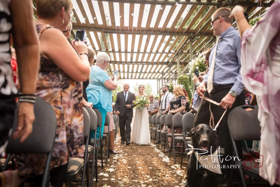 Bride walking down the aisle at a Saskatoon Farm wedding