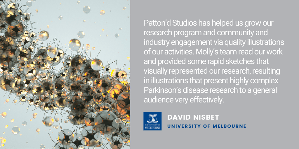 Testimonial: Patton'd Studios has helped us grow our research program and community and industry engagement via quality illustrations of our activities. Molly's team read our work and provided some rapid sketches that visually represented our research, resulting in illustrations that present highly complex Parkinson's disease research to a general audience very effectively. - David Nisbet, University of Melbourne