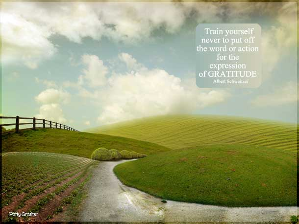 """Motivational Quote: Albert Schweitzer - """"Train yourself never to put off the word or action for the expression of gratitude."""""""