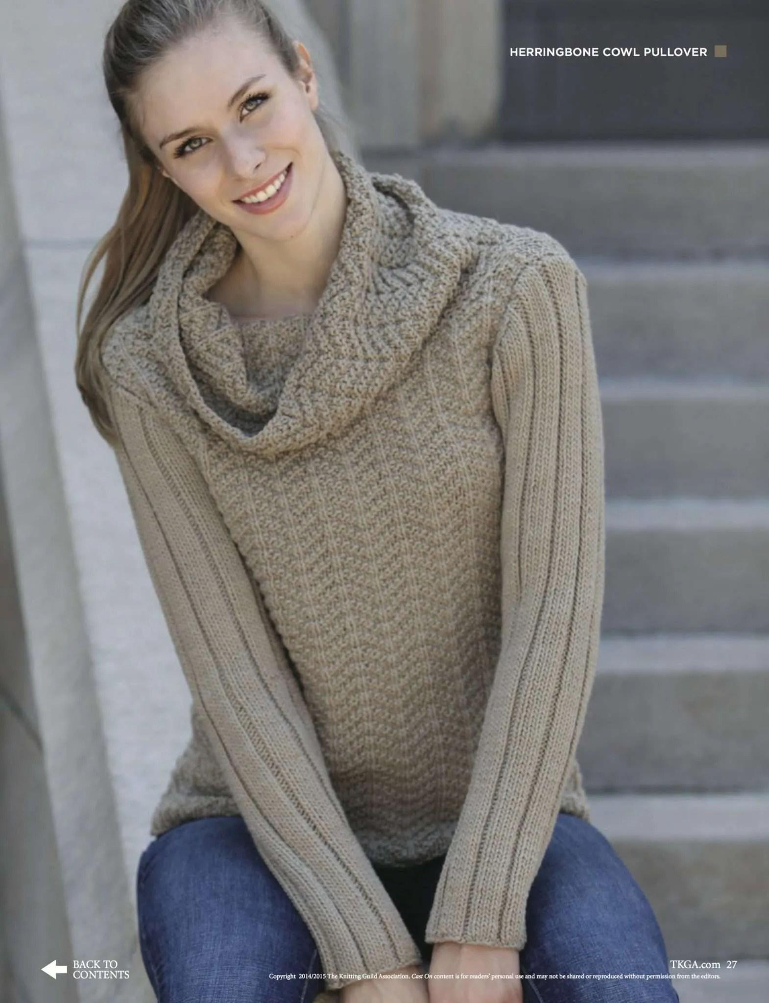 Herringbone Cowl Pullover