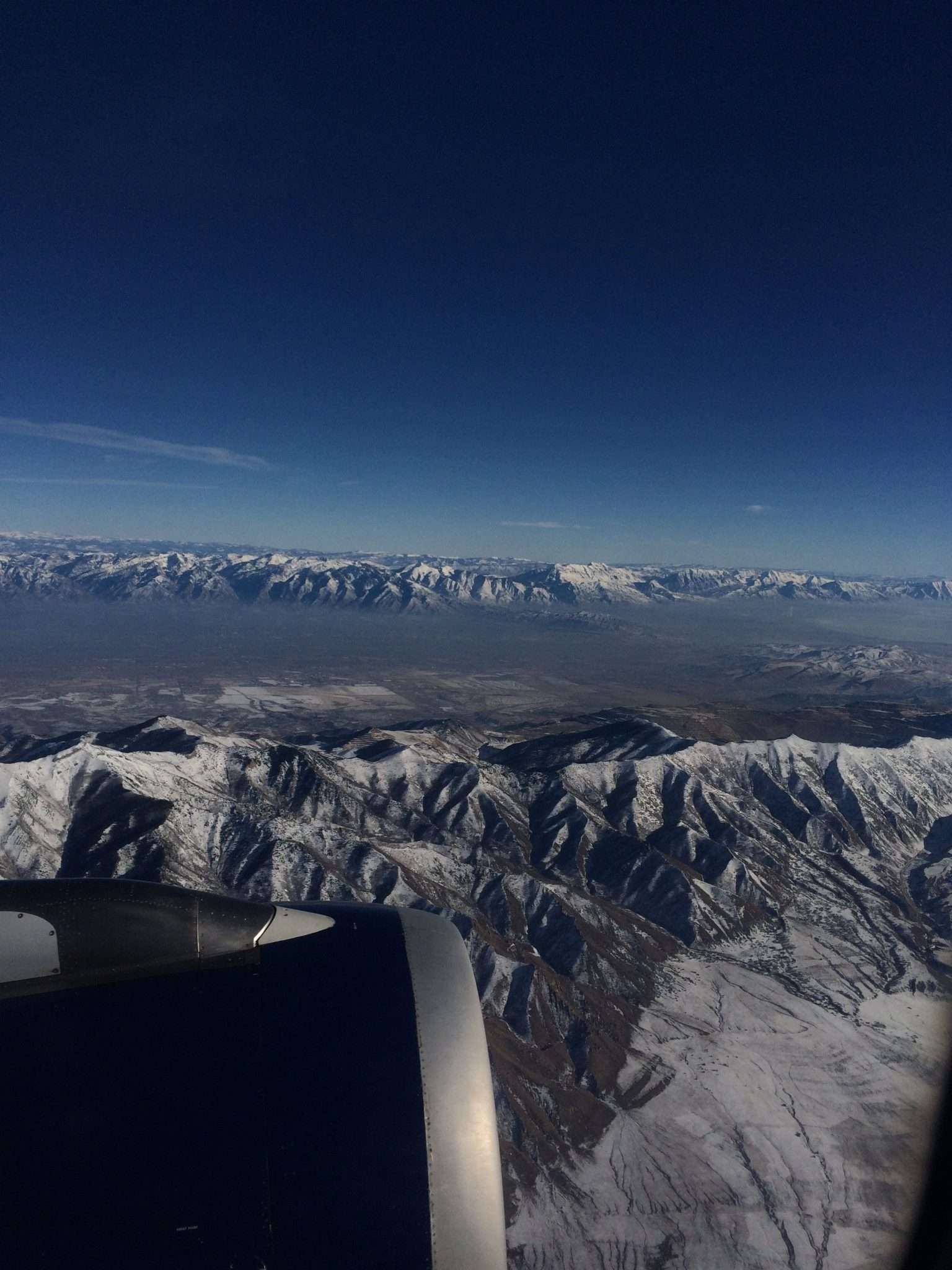 Flying west over the mountains
