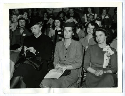 """""""First Lady Eleanor Roosevelt knits while attending 'We're in the Army Now,' a conference held at Vassar College in Poughkeepsie, New York, 1941."""""""