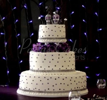 Purple wedding cakes Archives   Patty s Cakes and Desserts wedding cake purple dots day of dead 3
