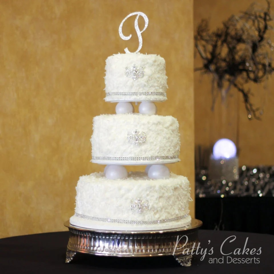Photo of a coconut bling wedding cake   Patty s Cakes and Desserts Photo Gallery