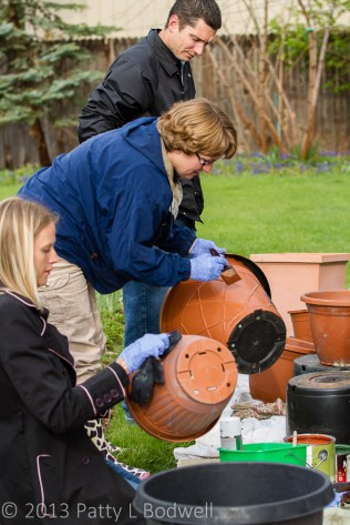 Deena and Julie paint pots