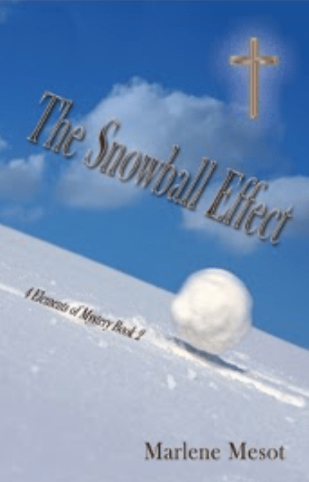 The book cover features a snowball rolling down a steep hill covered in snow. The sky is a bright blue with a few fluffy white clouds hovering above the horizon. There is a gold, glowing cross in the top righthand corner. The title of the book is slanted, following the path of the snowball.