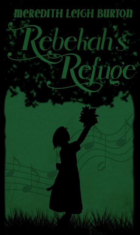 The book cover is a dark green and black theme. The background features a bar of music flowing behind the silhouette of a girl picking leaves off of a silhouetted tree above her. In the leaves of the tree, the title and author's name are written in the same emerald green as the background. There is grass beneath the feet of the little girl.