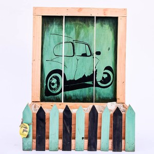 Creatively Fenced Box Planter With Car Painting (Sea Green)