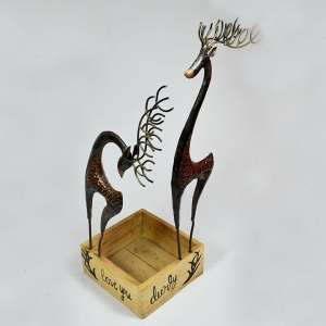 Rustic Deer With Wooden Box
