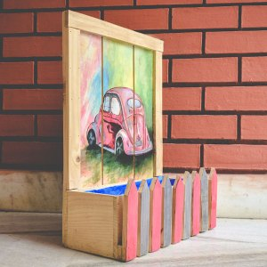 Creatively Fenced Box Planter With Car Painting(Red)