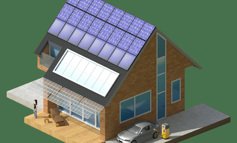 Haus mit Solarmodulen auf den Dach