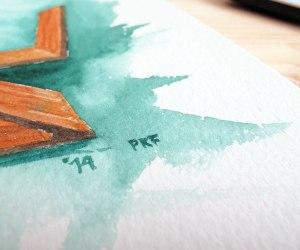 RIETVELD ZIGZAG CHAIR BY PAUKF pkf arch paula teruel architecture arquitectura arquitecto architect watercolor acuarela silla ilustración DETAIL
