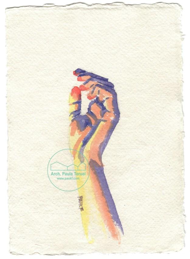 manos hands mano hand main dibujo acuarela watercolor illustrazione ilustración drawing paukf pkf