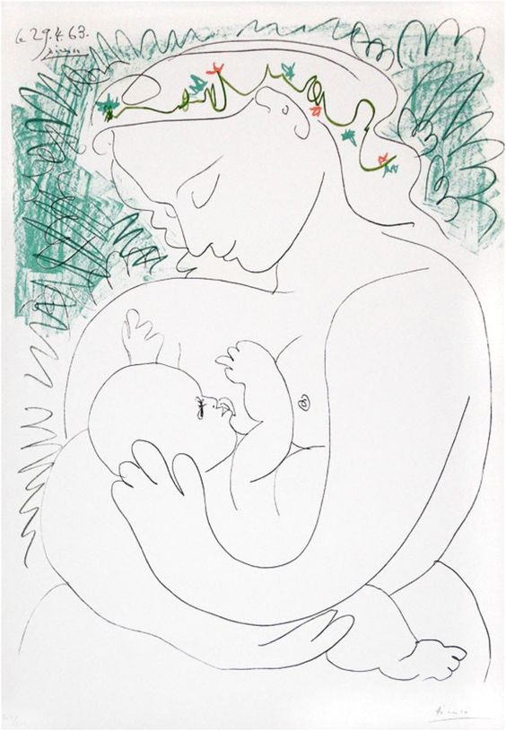 maternidad motherhood amamantar breastfeeding picasso litografia art arte