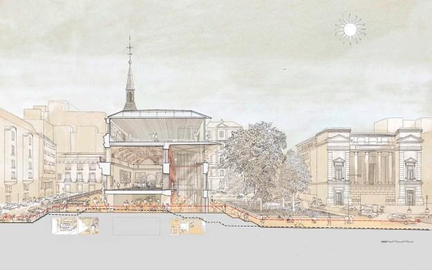 Handmade render de Foster y Rubio para el Prado en paukf arquitecto arch paula teruel