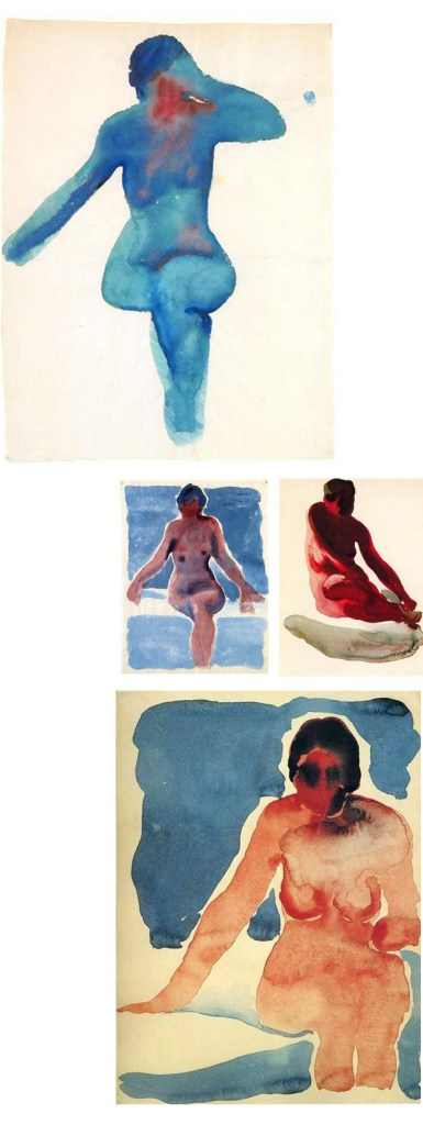 nude series georgia o'keeffe, acuarelas watercolors on paukf art arte