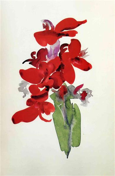 red-canna georgia o'keeffe, acuarelas watercolors on paukf art arte